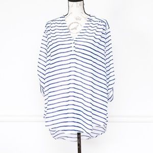 Torrid Navy and white striped blouse, size 1